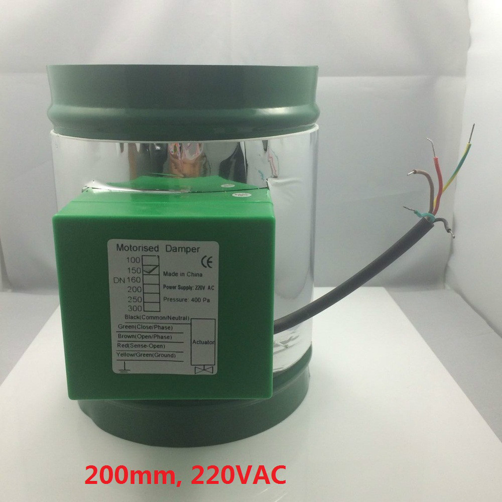 200mm 230VAC electric air damper with actuator for ventilation(China (Mainland))