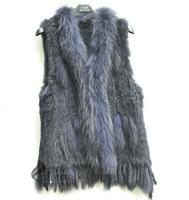 Free Shipping CX-G-B-57J/Z New Products Women Rabbit Fur Vest With Raccoon Fur Trim ~ Drop Shipping