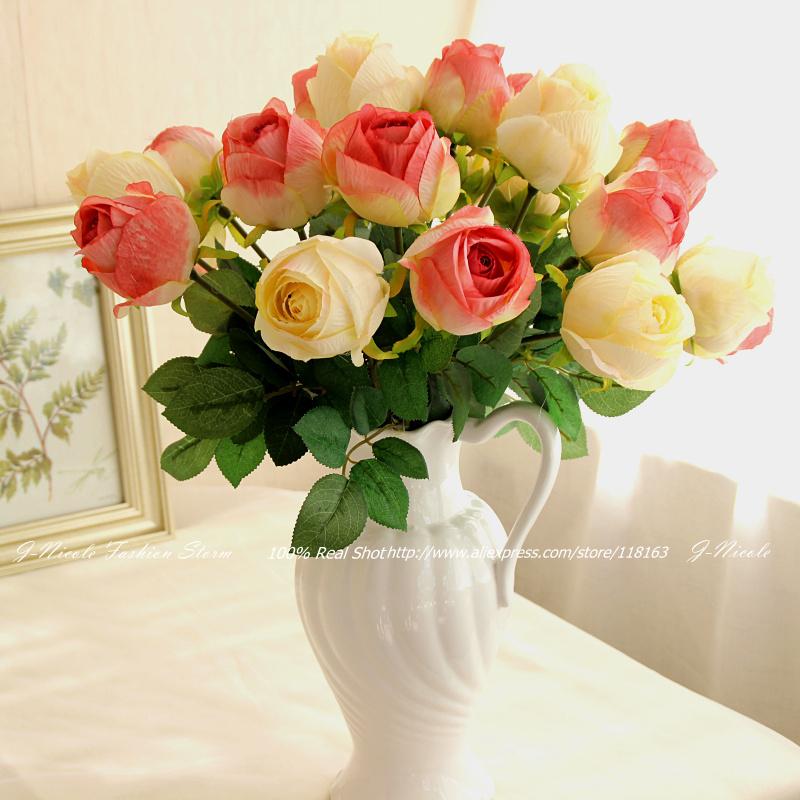 6pcs/lot California Artificial Single Head Silk Rose Home Wedding Bridal Bouquet Home Decorative Flowers Party Decoration(China (Mainland))