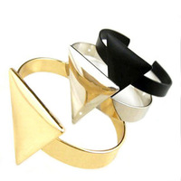 Free shipping silver/gold zinc alloy triangle cuff bangle bracelet punk for wommen and men (B1-135)