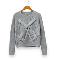 3 colors.beige / gray / pink.2014 new fashion and elegant ladies sweaters short cross design basic pullover sweater