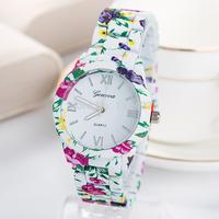 2014 New Geneva Watch Women Fashion Quartz watches Alloy  Band Ladies wrist watch 3 Colors Flower Band Style Clock-GV013