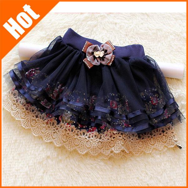 children's skirt kids lace laciness floral print bow beading girls mini tutu skirts Korean casual lolita style 2014 new(China (Mainland))