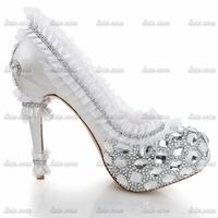 Top Quality Brand New Custom Handmade Crystal Women Shoes Wedges Closed Toe Rhinestone Pvc Wedding Women High Heel Shoes
