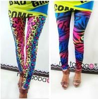 VOLFOUR  2014 FASHION women's sex lady pants neon Leopard striped high spandex leggings 1PCS FREE SHIPPING