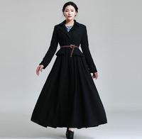 2014 Winter European Wool Topcoat Women Thick Brief Business Party Woolen Overcoat Plus Size Office Lady's Work Long Coat