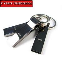 100% Real 64GB USB Flash Drive Metal key chain Pen Drive Card Pendrive Memory Stick Drives MicroData Pendrives SALE