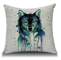 Wholesale! NEW Creative Watercolour Wolf Linen pillow cushion cover Wolf Head Pillowcases Home Decor sofa cushions 45*45cm