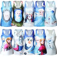 New Fashion Womens T-shirt Frozen Print Fitness Women Tank tops white Snow Queen Elsa bustier Crop Top