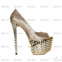 2014 fashion women rhinestone shoes sexy fish mouth single rivet shoes banquet nightclub princes bride diamond wedding shoes
