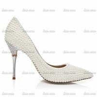 Top Quality Brand New Custom Handmade Sexy Crystal Pumps Shoes Closed Toe Rhinestone Pvc Wedding Rhinestone Womans Shoes