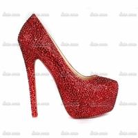 Free Shipping!! Cheap Custom Handmade Crystal Rhinestone Pumps Heels Closed Toe Rhinestone Pvc Wedding Gold Silver Heels Shoes
