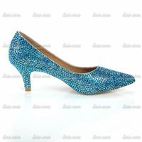 2015 spring models Europe America Hand Made Crystal Colorful blue diamond tip sheepskin shoes shiny nightclub high-heeled shoes
