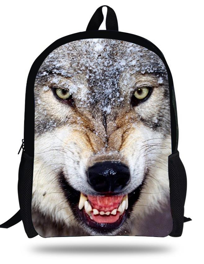 16inch Men's travel bags 3D Wolf Backpack Animal Prints Kids Backpack Boys Age 7-13 Animals Children Bag School Mochila Infantil(China (Mainland))