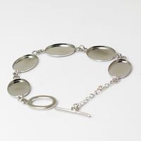 Bracelet Base Cabochon Jewelry Making Mounting Bracelet  Brass, Clasp:8x13mm, Base Diameter:13x18mm, sold by 5 pcs ID4825