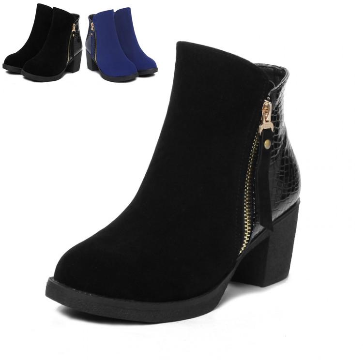 Grande taille 40 41 43 dame. bottines bottes talon épais avec fermeture à glissière femmes tenue de travail confortables chaussures à talons mi