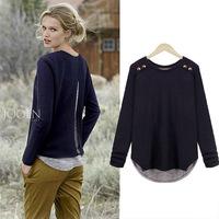 2014 New Brand Fashion Plus Size Women Blouse Blue Black Red Loose Style Base Shirt Clothing Free Shipping V401