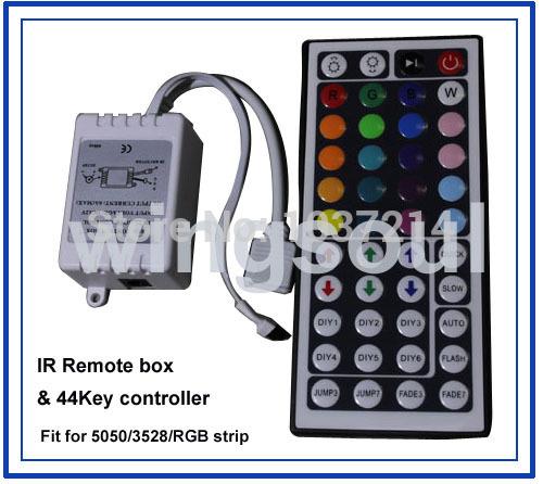 Free ship 2pcs 44 Keys LED IR RGB Controler For RGB SMD 3528 & 5050 LED Strip LED Lights Controller IR Remote(China (Mainland))