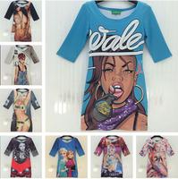 New hot! Fashion street wind women's dresses monroe rose floral/Rihanna sexy 3D girl print vintage women dress