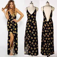2014 New Women Celeb Fashion Sexy V-neck Backless Halter Floral Print Summer Beach Party Dresses Long Dress Vestidos
