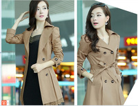 2014New Autumn Trench Coat Slim Medium-long Ladies Outerwear free shippping