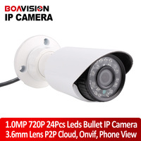 New 1280*720P 1.0MP Mini Bullet IP Camera Real time Waterproof Outdoor IR CUT Night Vision P2P Plug and Play with onvif nvr view