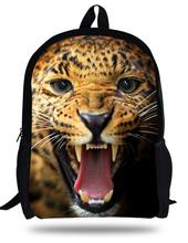 16inch Mochilas infantis 3D Leopard Backpack Animal School Bag For Kids Fashion Boys Bags Children School Backpack Animal Prints(China (Mainland))