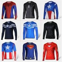 Marvel Comics Super Heroes Captain America Spiderman Superman Batman Iron Man Long Sleeve T Shirt Clothing Costume Tee Shirt