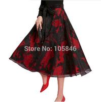 2014 Spring Autumn Disigner Brand High Fashion Women Vintage High Waist Organze Bow Double Fabric Print Black WineRed Long Skirt