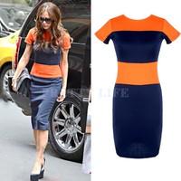 Excellent ! 2014 Women Dress Fashion Color Block Striped Bodycon O-Neck Knee Length Cocktail Dress S-XL b7 CB030607