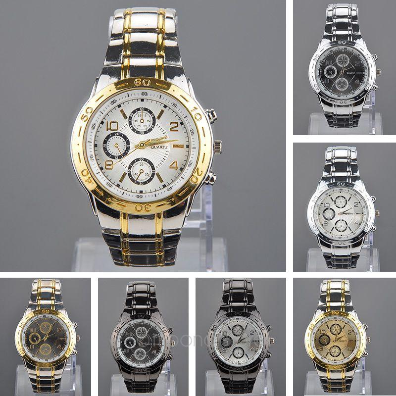 Hot Stainless Steel Wrist Watch Men's Business Analog Quartz Wristwatch Band Sliver Ring xhMPJ592(China (Mainland))