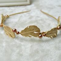 Leaf Baroque Hairband Metal Gold Wedding Headband Hair Accessories Bridal Pearl Jewelry Headpiece Headwear WIGO0363