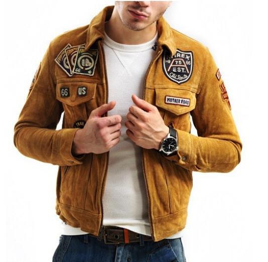 Avirex flight jacket with patches scrub cowhide men's shirt collar genuine leather jacket yellow/orange/black motorcycle jacket(China (Mainland))