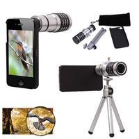 Brand New 12X Zoom Len Phone Camera Telephoto Lens Telescope + Tripod Holder + Case Aluminum Shell For iPhone 5 5S 5G Silver