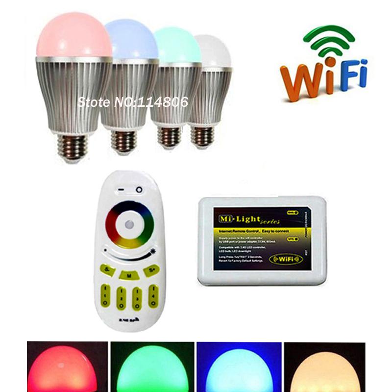 4 x Mi.Light 2.4G RGBW Warm / White LED Bulb light E27 9W + 1 x pcs 4-Zone Touch Remote + 1x Phone WiFi(China (Mainland))