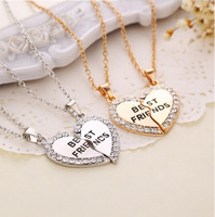 2014 New Arrival Best Friends Letters Necklace Heart Rhinestone Two Parts Pendant Necklace