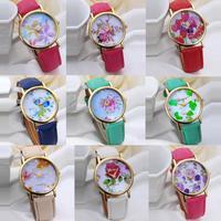 FeitongWomen's Fashion Flower Dial Leather Band Quartz Analog Ladies Wrist Watches Free Shipping&Wholesales
