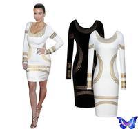 Women Bodycon Dress Winter Long Sleeve Vestido De Festa Bronzing Pattern kim kardashian Dress Black White Burgundy Plus Size
