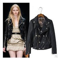 자 2015 새로운 브랜드 고품질의 모조 가죽 자켓 여성 턴- 다운 칼라 슬림 겨울 여성 가죽 오토바이 자켓& 코트