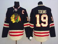 2015 Winter Classic Chicago Blackhawks Jerseys Ice Hockey Jersey Embroidery Logos #19 Jonathan Toews Black jersey695