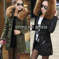 M-4XL Plus size woman medium-long winter wadded jacket outerwear fur collar thicken cotton-padded wool coat zipper warm parkas