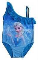 Retail 2014 New Free Shipping Frozen Queen Elsa Anna Girls Kid Polyester Fabric Thin Swimsuit Swimwear Bathing Beachwear