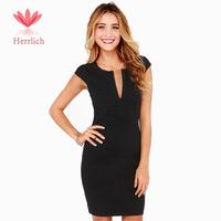 2014 Latest Design Women Brand Casual Brief Black V Neck Short Sleeve Slim Bodycon Dress Elegant Lady Bandage Dress D836A0S
