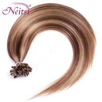 "New 100% Brazilian Pre Bonded   Hair Fusion Glue U Stick Tip  Nail  Women Hair Straight Extension 18""   2015"