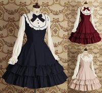 free shipping Beautiful Gothic Lolita dress long-sleeve shirtdress for women Cosplay costumes Retro skirt