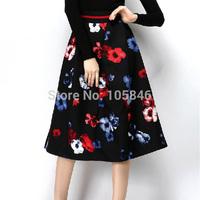 2015 New Arrival Spring Autumn Disigner Brand High Fashion All Match Women High Waist Floral Print Thick Mid-Calf Long Skirt