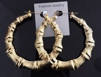 Free shipping Environmental Large bamboo earrings Golden circle Hip-hop nightclub earringsES0263