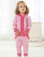 2014 new hello kitty baby girl clothing set high quality children flower long sleeve denim three piece sets Korean version