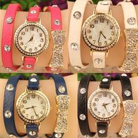 Feitong  Fashion Women Bowknot Crystal Quartz Watch Imitation Leather Watch  WholeSales