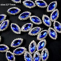 Free Shipping 50pcs/bag 3D nail art women alloy decoration royalblue gem nail Rhinestone Decoration glitter